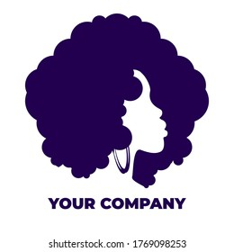 stylish afro girl shilouette logo