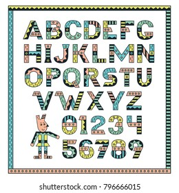 Stylish alphabet. Multicolored printed letters with black edging. Vector illustration isolated on white background.