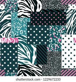 Stylish animal skin mixed with geometric pattern ,polka dots and stripe modern style in seamless vector design for fashion,fabric , wallpaper and all prints on sweet pastel mood