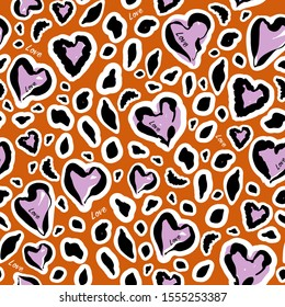"""Stylish animal skin on hearats shape with wording """" Love"""" seamless pattern in vector design for fashion,fabric,web,wallpaper,wrapping and all prints on trendy safari brown"""