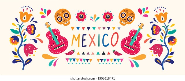 Stylish artistic Mexican decor for Mexican holidays and party