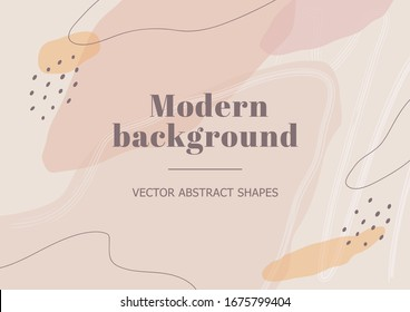 Stylish background with organic abstract shapes in nude pastel colors. Neutral template for beauty branding design. Vector Illustration