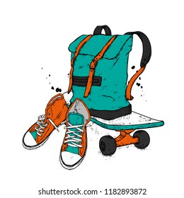 Stylish backpack, skateboard and sneakers. Sports, clothing and accessories. Street style. Vector.