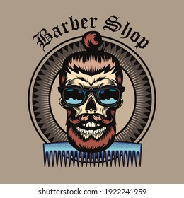 Stylish badge with comb and bearded skull vector illustration. Colorful label with hipster skull in sunglasses smiling with haircut. Fashion and elegant style concept can be used for retro template