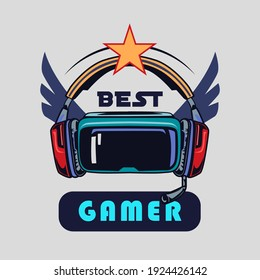 Stylish badge with full VR headset vector illustration. Colorful label with hipster skull in sunglasses smiling with haircut. Cybersport and gaming zone concept can be used for retro template