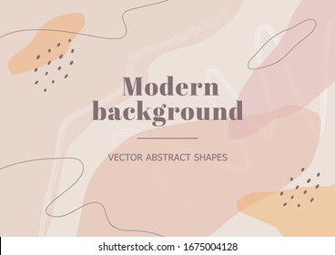 Stylish banner template with abstract shapes in nude colors. Neutral background in Scandinavian style for beauty branding design, presentation, flyer. Vector Illustration