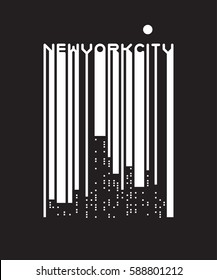 Stylish barcode lettering of New York City with windows