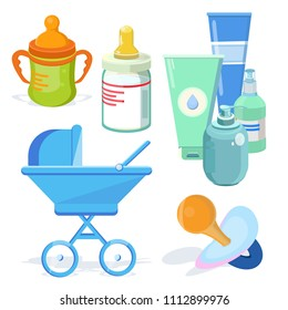 Stylish, beautiful, cute baby toy, developing thing baby stroller, cosmetics, powder, moisturizer, nipple, plastic bottles with juice, milk, mix, nutritional supplements. Modern vector flat design