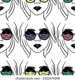 Stylish beautiful girl in glasses. Vector hand drawn illustration for card, poster, banner, print for t-shirt.  Surreal illustration