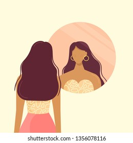 Stylish beautiful girl looks in the round mirror. Young woman and her reflection in the mirror. The girl is going on a date, make up and try on clothes. Vector illustration, flat design.