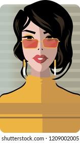 Stylish beautiful model for fashion design. Art deco graphic illustration. Portrait of pretty girl with glasses. Elegant vector style.