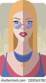 Stylish beautiful model for fashion design. Art deco graphic illustration. Portrait of pretty girl with glasses in Rome. Elegant vector style.