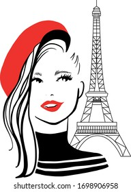 Stylish beautiful model for fashion design. Doodle graphic flat illustration. Portrait of smiling pretty girl with Eiffel Tower. Elegant vector french style.