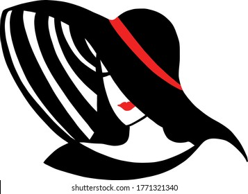 Stylish beautiful model for fashion design. Art deco graphic illustration. Portrait of pretty girlwith hat. Elegant striped vector style.