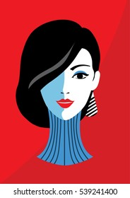 Stylish beautiful model for fashion design. Art deco graphic illustration. Portrait of pretty girl. Elegant vector style.
