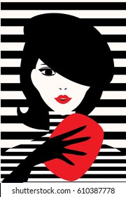 Stylish beautiful model for fashion design. Pop art graphic silhouette illustration. Portrait of pretty girl on striped background. Elegant vector french style.