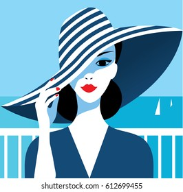 Stylish beautiful model for fashion design. Art deco graphic illustration. Portrait of pretty girl on sea. Elegant striped vector style.