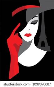 Stylish beautiful model for fashion flat design. Art deco graphic illustration. Portrait of pretty girl in Paris. Elegant vector style.