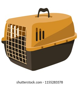 Stylish beautiful pet shop, carrying case, cage, pet box, cats, dogs, raccoons, chinchillas. Plasma cage with a rack for animals. Modern vector flat design image isolated on the white background.
