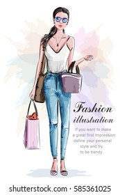 Stylish beautiful woman with shopping bags. Sketch. Hand drawn girl in fashion clothes. Fashion illustration.