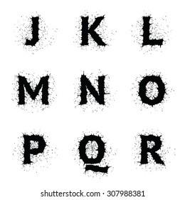 Stylish black ink grunge vector uppercase font. Letters J, K, L, M, N, O, P, Q, R.