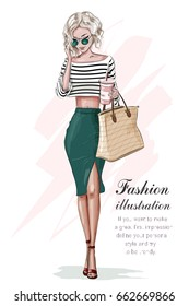 Stylish blonde girl in fashion clothes, with bag and coffee cup. Hand drawn beautiful girl. Fashion woman. Sketch. Vector illustration.