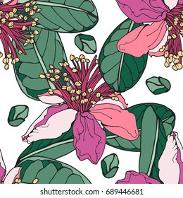 Stylish botanical seamless vector  pattern with big flowers and buds