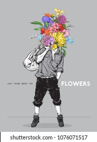 Stylish boy in sketch-style whit flowers head. Vector illustration.