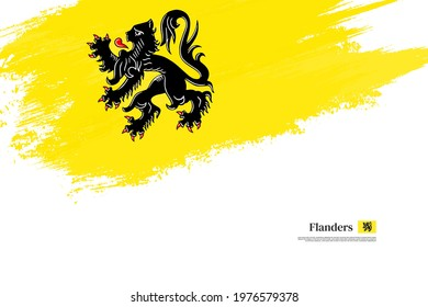 Stylish brush flag of Flanders. Happy national day of Flanders with grungy flag background