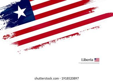 Stylish brush flag of Liberia. Happy independence day of Liberia with grungy flag background