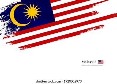 Stylish brush flag of Malaysia. Happy independence day of Malaysia with grungy flag background