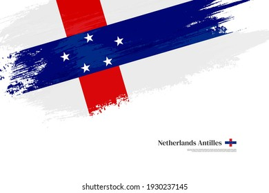 Stylish brush flag of Netherlands Antilles. Happy national day of Netherlands Antilles with grungy flag background