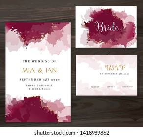 Stylish burgundy red watercolor and gold glitter vector design card. Marsala, cinnamon rose color frame. Elegant wedding invitation. Splash texture. Boho style.Trendy collection. Isolated and editable