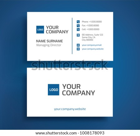 Stylish business card template vector blue stock vector royalty stylish business card template vector blue and white color minimalist front and back design colourmoves