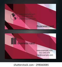 Stylish business cards with colorful straight stripes. Vector illustrations. 5 x 9 cm size.