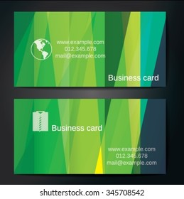 Stylish business cards with colorful straight stripes. Vector illustration. 5 x 9 cm size.