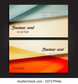Stylish business cards with colorful stripes. Vector illustration. 5 x 9 cm size.