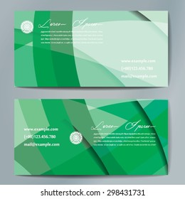 Stylish business cards with colorful wavy stripes. Vector illustrations. 5 x 9 cm size.