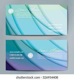 Stylish business cards with colorful wavy stripes. Vector illustration. 5 x 9 cm size.