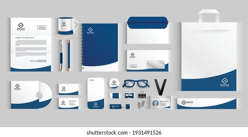 stylish business stationery items set in blue color