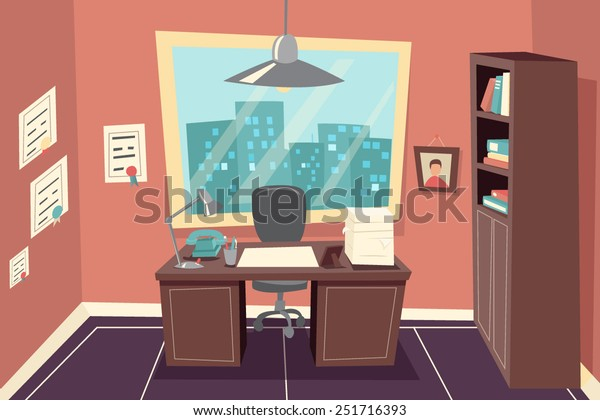 Stylish Business Working Office Room Background Desk City Window File Cabinet Retro Cartoon Design Template Concept Vector Illustration