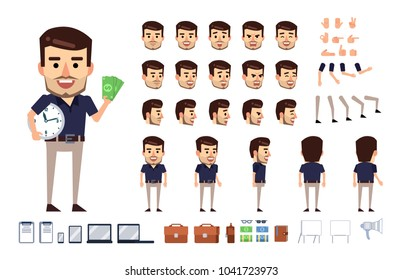 Stylish businessman character creation kit. Creat your own pose, action, animation. Diverse poses, gestures, emotions, design elements. Flat style vector illustration