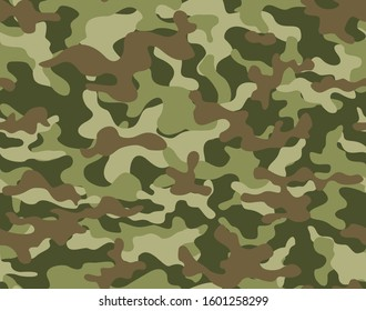 Stylish camouflage pattern with brown spots on a green background for hunting and fishing. Vector.