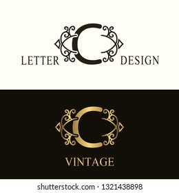 Stylish Capital letter C. Vintage Logo. Filigree Beautiful Monogram. Luxury Drawn Emblem. Graceful Style. Black and Gold. Graphic Ornament. Simple Design of Calligraphic Insignia. Vector Illustration