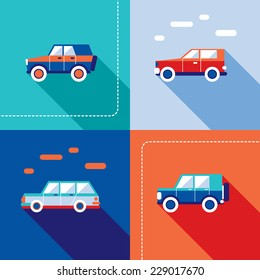 Stylish car icon set. Modern flat design style. Vector illustration