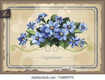 Stylish card with Anemones for wedding design. Elegance template with bouquet of spring blue flowers. Watercolor illustration in Shabby chic style. Floral vintage greeting design for congratulation