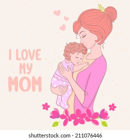 Stylish card with beautiful cartoon mother with baby in floral frame