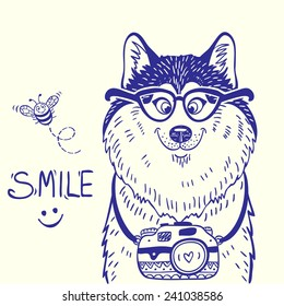 Stylish card with silhouettes cartoon cute dog husky with glasses and camera. Vector illustration
