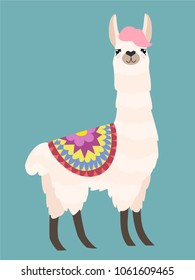 Stylish cartoon lama with ornament design. Vector illustration.
