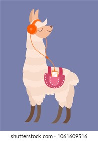 Stylish cartoon lama. Vector illustration.